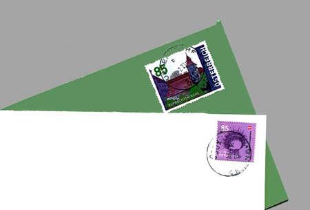 Used envelopes with postmarked austrian stamps Standard-Bild