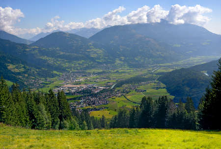 View from the star alp onto the district capital Lienz in the Drau valley at Eastern Tirol, Austria Standard-Bild