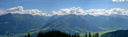 Panoramic view of the high Tauern in the Pinzgau region of Salzburg from the mountain Schmittenhoehe, Austria