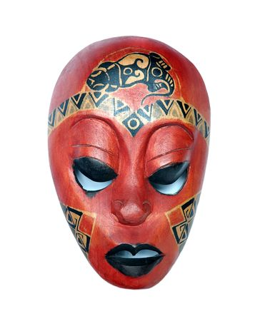African mask on a white background photo