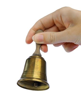 The hand holding the bell Stock Photo