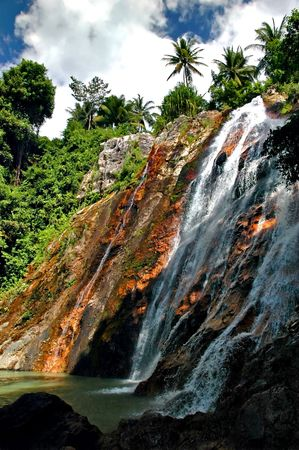Waterfall on the island of Koh Samui in Thailand