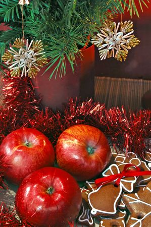 Christmas still life - apples, gingerbread and Christmas decorations photo