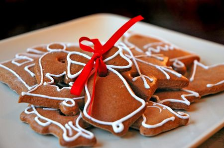 Christmas still life - Gingerbread with red ribbon Stock Photo