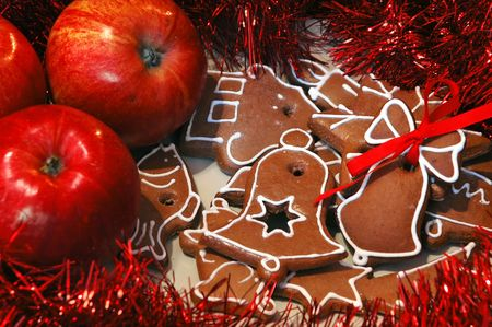Christmas still life - apples and gingerbread photo