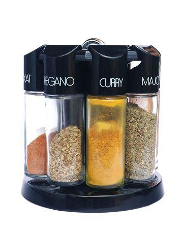 Spices - nutmeg oregano curry salt pepper marjoram chilli photo