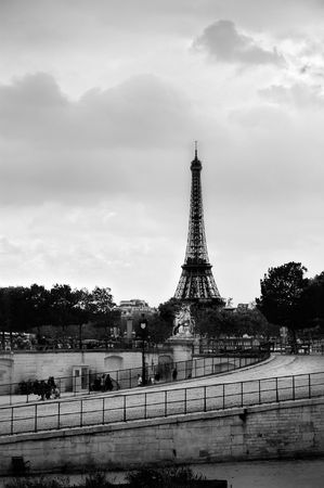 Square Jardin des Tuileries in Paris and in the background is Eiffel Tower photo