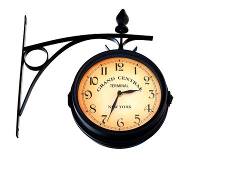 pocket watch: Retro clock on the white background