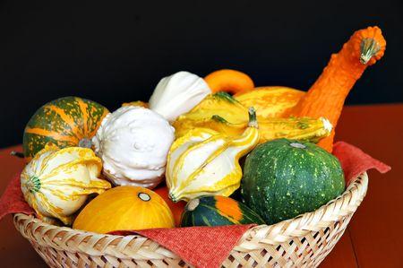Wicker basket with decorative pumpkins photo