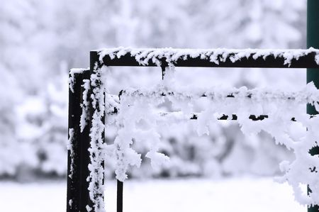 Ice frost on the fence photo