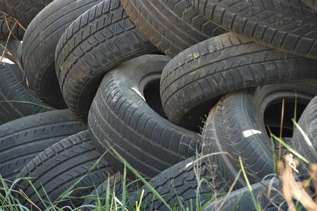 stockpiling: Old tires thrown in the woods