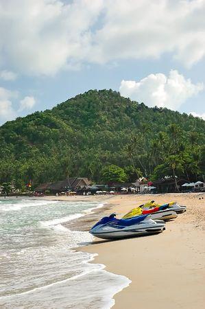 watercraft: Personal watercraft on Chaweng Beach, Koh Samui, Thailand Stock Photo