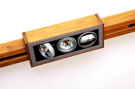Wooden ceiling light - three halogens . Stock Photo - 7625609