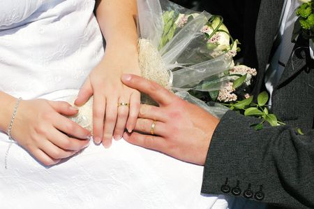 Detail of the hands of the bridal couple Stock Photo - 7625746