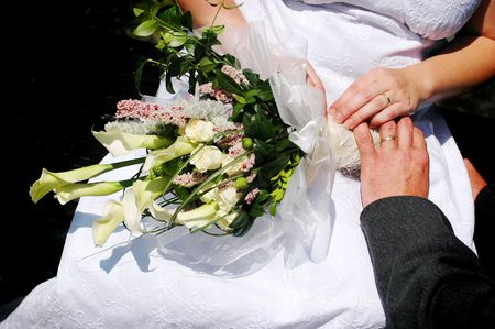 Detail of the hands of the bridal couple Stock Photo - 7625687
