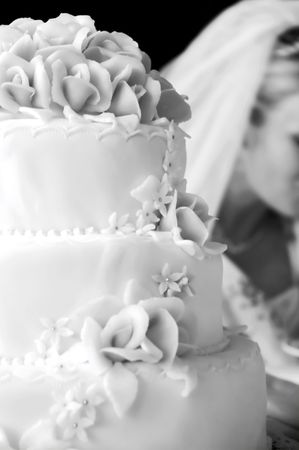 Wedding cake with marzipan roses - shallow dof photo