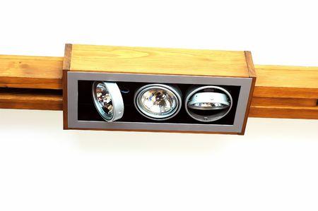 Wooden ceiling light - three halogens . Stock Photo - 8060179