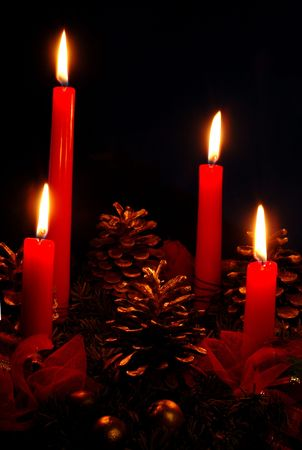 Four candles - Christmas decorations photo