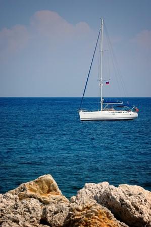 The Sailboat at Sea, Rhodes, Greece . photo