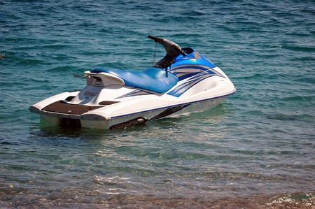 personal watercraft: Personal watercraft in the water . Stock Photo