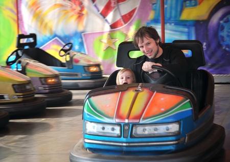 The fairground attractions at amusement park .
