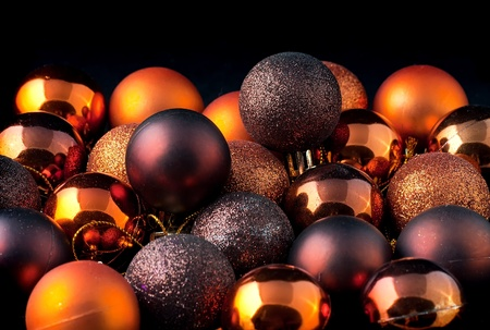 group of christmas baubles: The color Christmas balls on a black backbround Stock Photo