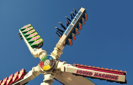 The fairground attractions at amusement park . photo