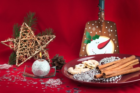 The christmas still life on a red background . Stock Photo - 11708005