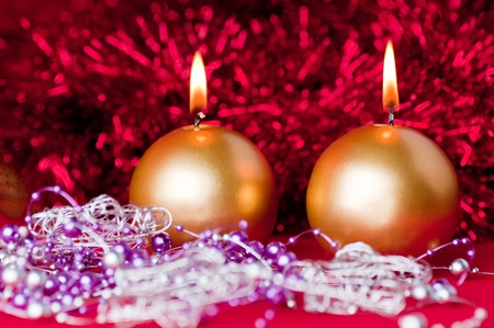 Two golden candles - christmas still life . Stock Photo - 11707981