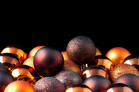 The color Christmas balls on a black backbround Stock Photo