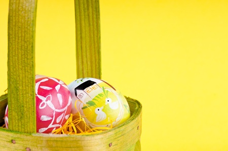 The detail of Easter eggs in basket . photo