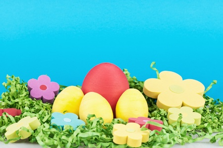The easter decoration - eggs and flowers . photo
