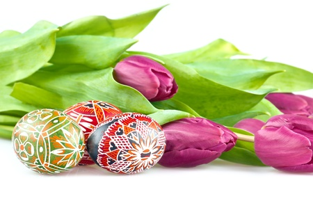 The easter eggs with purple tulip flowers  photo