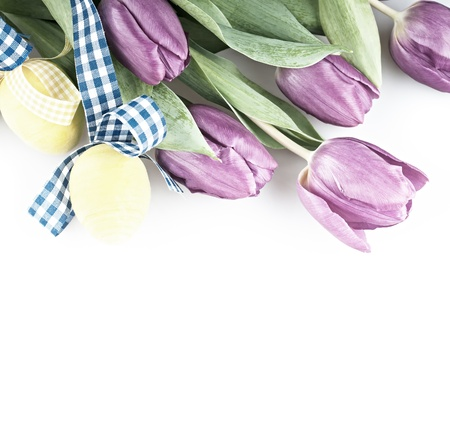 Two yellow eggs with purple tulip flowers  photo