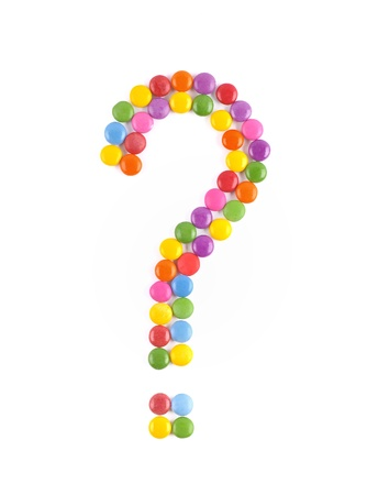 The question mark of candy on a white background photo