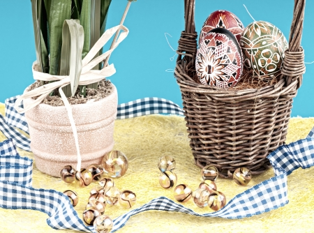 The basket with eggs and glass balls . photo