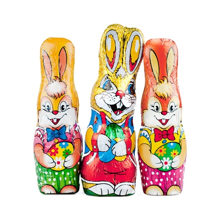 The chocolate bunnies on the white background