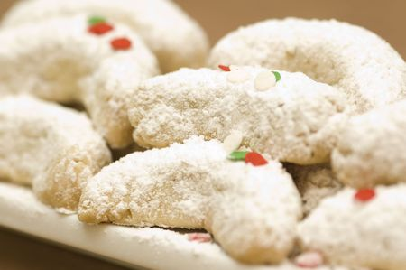 Holiday cookies with powdered sugar photo
