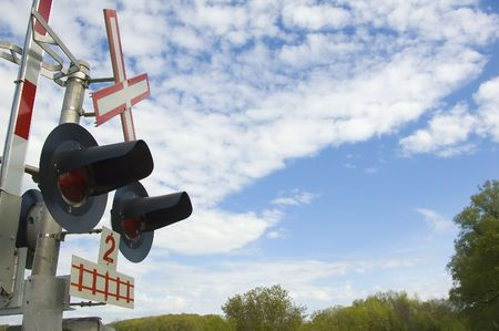 Train lights and sign near a train crossing Stock Photo - 788488
