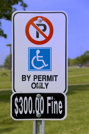 Parking only for wheel chair users by permit Stock Photo - 788495