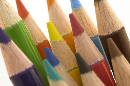 Colored pencils against a white background color