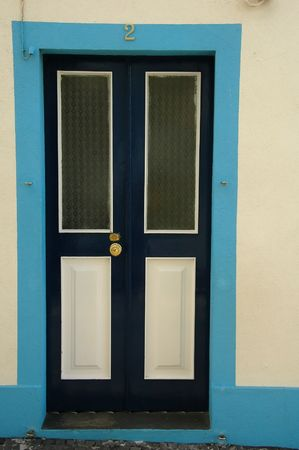 Wood door from a home in the Azores Islands Stock Photo