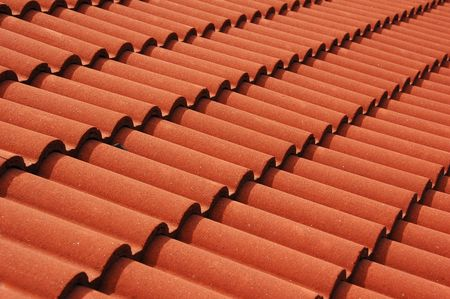 Red roof tiles on an Azores home