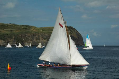 Azores whaling canoe during a sailing race outside the island of Faial.
