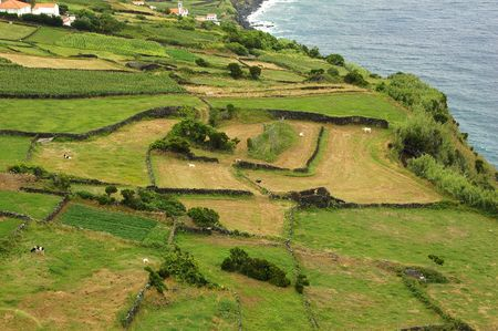 Azores Island landscape with a green lush view beside the ocean Stock Photo