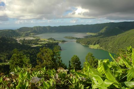 Azores lagoon with amazing green landscape all around