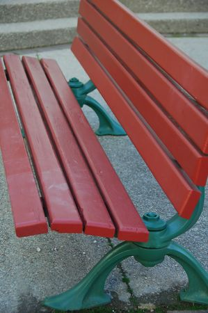 Red Wood Park Bench  Stock Photo