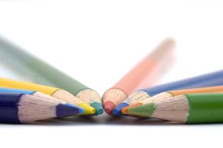 Stack of wood pencil crayons used for artwork Stock Photo