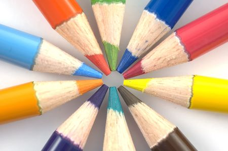 Stack of pencil crayons used for artwork