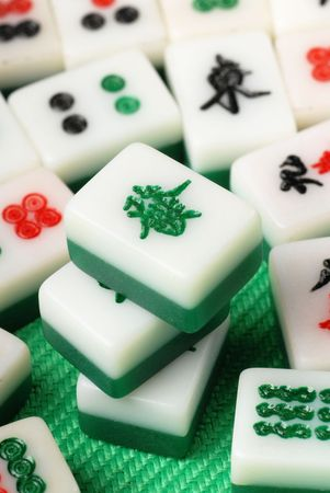 Chinese mahjong on a table  Stock Photo